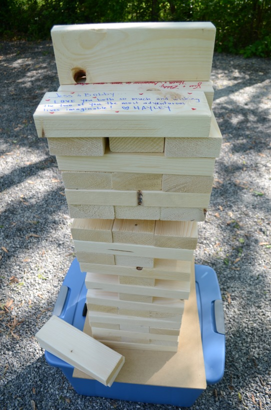 As a wedding/ house warming gift, the couple was given a giant Jenga like puzzle for the yard.